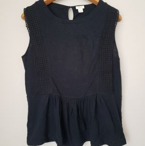 J.Crew black sleeveless lace peplum top size L